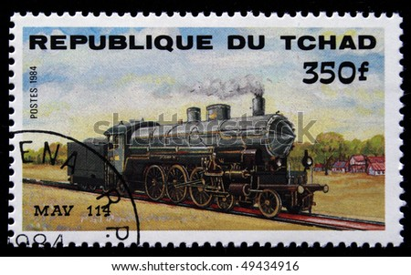 CHAD - CIRCA 1984: A stamp printed in Republic of Chad shows engine MAV 114, circa 1984 - stock photo