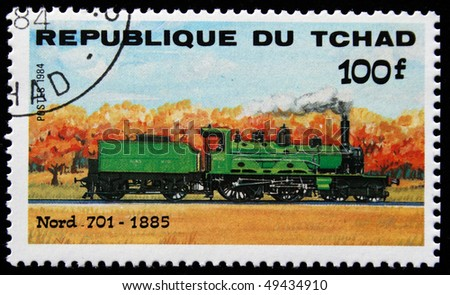 CHAD - CIRCA 1984: A stamp printed in Republic of Chad shows engine Nord 701, 1885, circa 1984 - stock photo