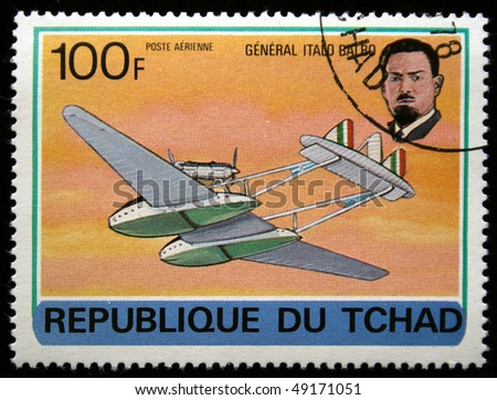 CHAD - CIRCA 1978: A stamp printed in Republic of Chad shows General Italo Balbo, series devoted history of aviation, circa 1978 - stock photo