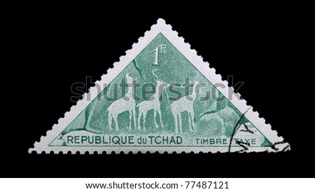 CHAD - CIRCA 1962: A stamp printed in Republic of Chad shows  Giraffe , series, circa 1962 - stock photo