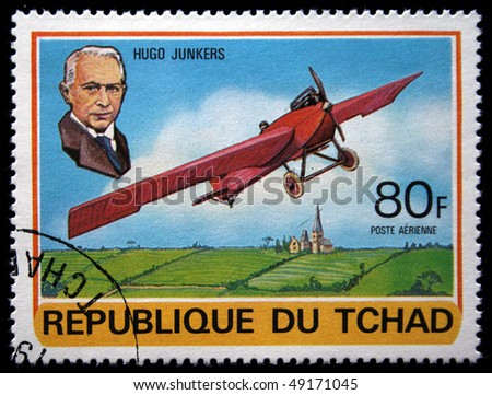 CHAD - CIRCA 1978: A stamp printed in Republic of Chad shows Hugo Junkers, series devoted history of aviation, circa 1978 - stock photo