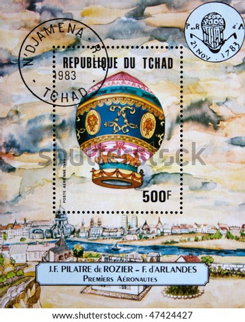CHAD - CIRCA 1983: A stamp printed in Republic of Chad shows image of Montgolfier's hot air balloon, circa 1983 - stock photo