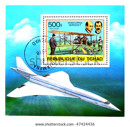 CHAD - CIRCA 1971: A stamp printed in Republic of Chad  shows Orville and Wilbur Wright, series devoted history of aviation, circa 1971 - stock photo