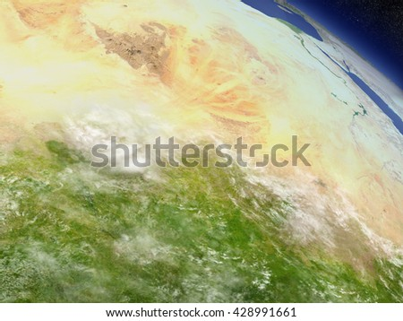 Chad with surrounding region as seen from Earth's orbit in space. 3D illustration with highly detailed realistic planet surface and clouds in the atmosphere. Elements of this image furnished by NASA. - stock photo