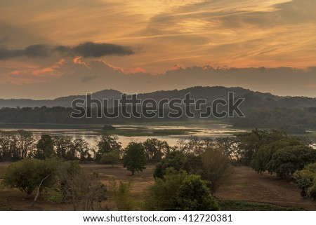Chagres River and Mountains at Sunrise - Panama - stock photo