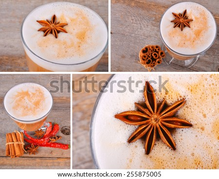 Chai latte spiced tea beverage in glass mug with spices - stock photo