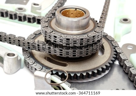 chain and camshaft, crankcshaft gears,timing set engine, isolated - stock photo