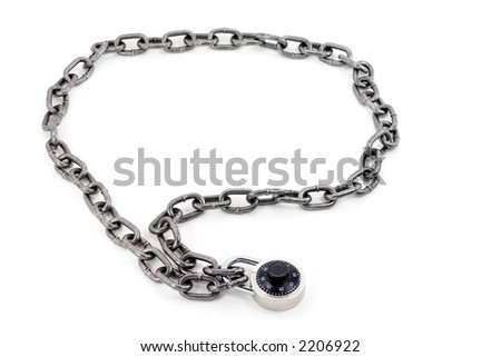 chain and combination lock with white background - stock photo