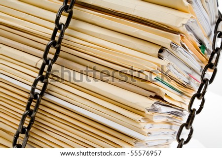 Chain and file stack, concept of Confidential Document - stock photo