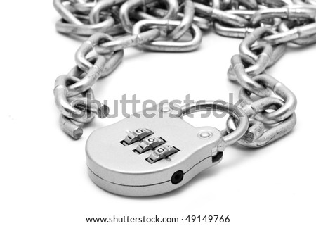 chain and lock on a white background for your illustrations