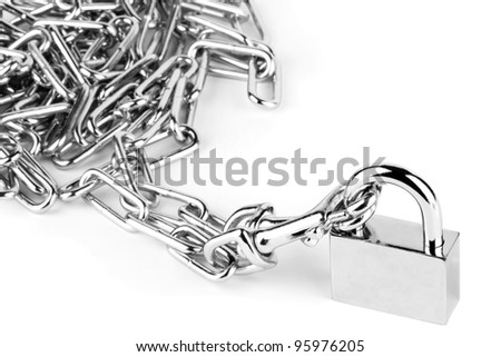 Chain and Lock on the white background - stock photo