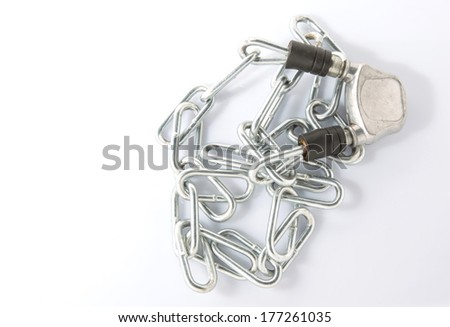 Chain and lock over white background - stock photo