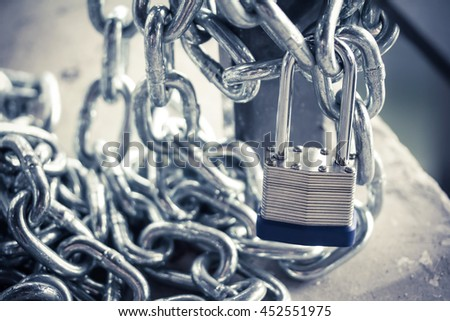 chain and lock security - stock photo