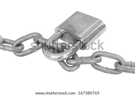 Chain and padlock isolated on white