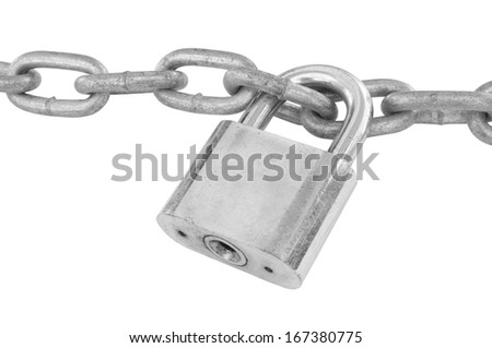 Chain and padlock isolated on white - stock photo