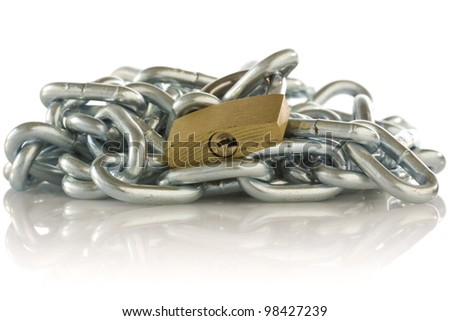 chain and padlock with reflection  on white background