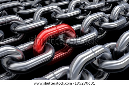 Chain and red link  (done in 3d) - stock photo