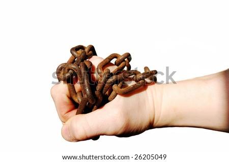 chain around a hand - stock photo