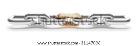 Chain Breaking. This image contains clipping path for easy background removing. - stock photo