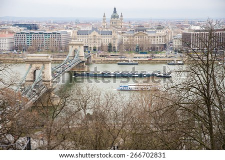 Chain Bridge and  barge  the view from the Buda Castle - stock photo