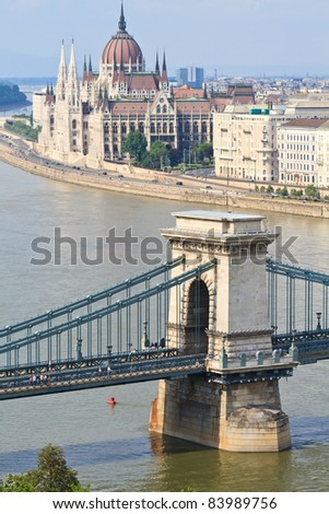Chain Bridge and Hungarian Parliament, Budapest, Hungary - stock photo