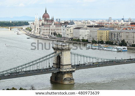 Chain Bridge and the parliament building, Budapest, Hungary