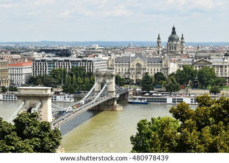 Chain Bridge and view of Budapest, Hungary