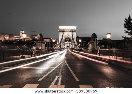 Chain bridge at night. Budapest, Hungary - stock photo