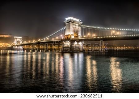 Chain Bridge at the night city in Budapest, Hungary  - stock photo