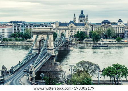 Chain Bridge. Budapest city. Hungary - stock photo