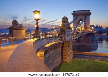 Chain Bridge, Budapest. Image of Chain Bridge in Budapest during sunrise. - stock photo