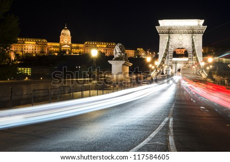 Chain Bridge & Castle, Budapest - stock photo