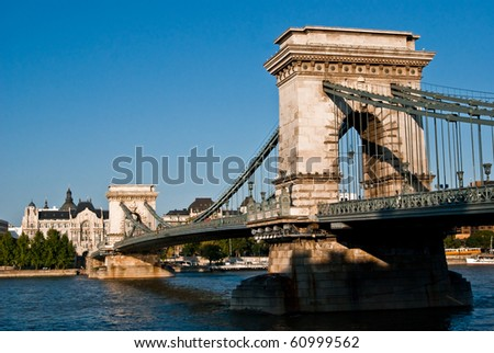 Chain bridge in Budapest across the Danube - stock photo
