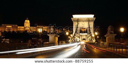 Chain Bridge in Budapest, Hungary at night.