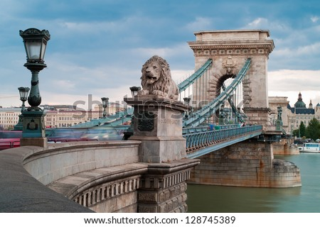 Chain Bridge is the quintessential symbol to Budapest, one of the most beautiful European city. - stock photo