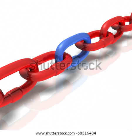 chain Connection red blue Pulling stabilizing business symbol