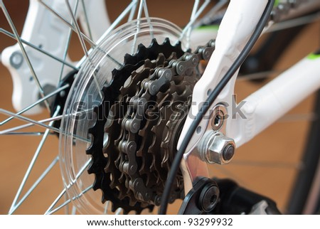 Chain drive bike rear end - stock photo