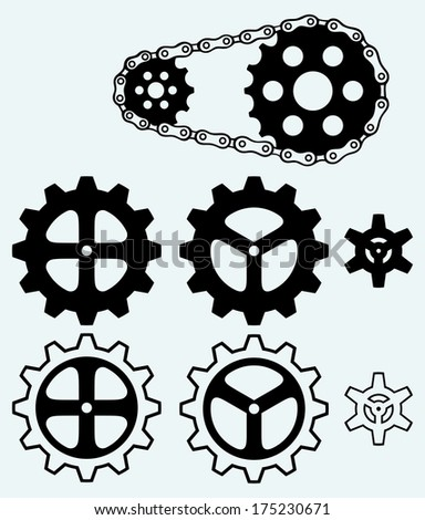 Chain gears and set cogs isolated on blue background. Raster version - stock photo