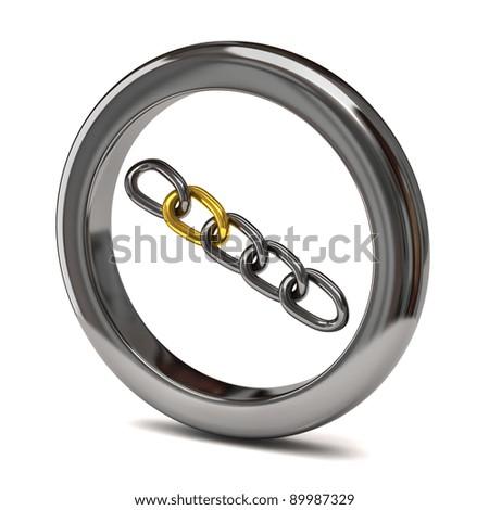 Chain icon on white background - stock photo