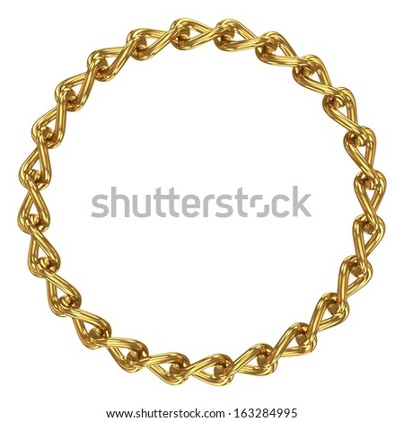 Chain in shape of circle. Isolated on white - stock photo