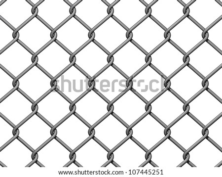 Chain Link Fence Background on white background. - stock photo