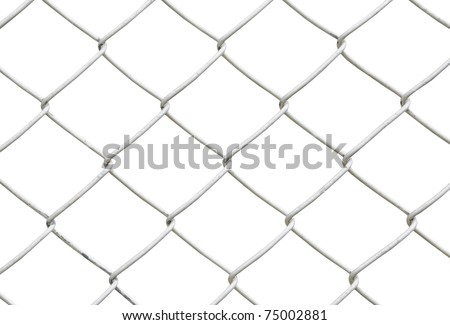 chain link fence isolated on white background - stock photo