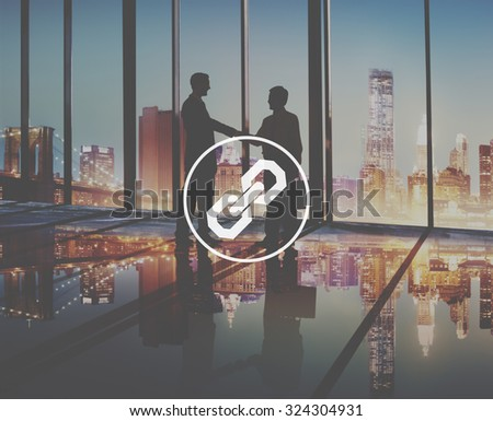 Chain Link Hyperlink Joined Security Concept - stock photo
