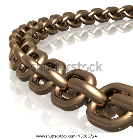 Chain Links Gold - stock photo