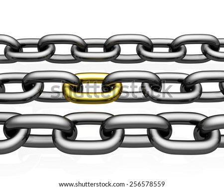 Chain Links   isolated on white background - stock photo