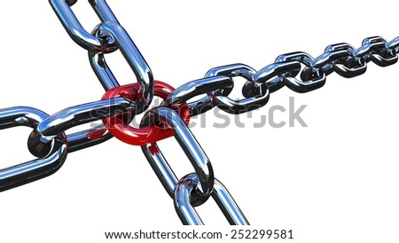 Chain links with red on a white background - stock photo