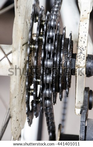 Chain of bicycle in wheel