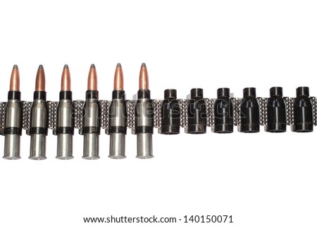 chain of cartridges on white background - stock photo