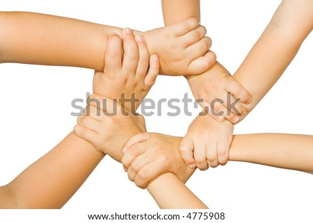 Chain of children's hands on a white background - stock photo