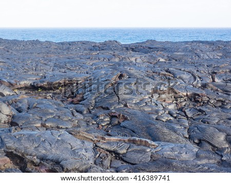 Chain of Craters Road is a 19-mile winding paved road through the East Rift and coastal area of the Hawaii Volcanoes National Park on the island of Hawaii. - stock photo